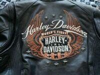 Harley Davidson Mens Leather Jacket Size Large L Riding Gear Goatskin Leather