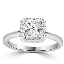 1 Carat D VS2 Enhanced Diamond Engagement Ring Princess Cut 14K White Gold
