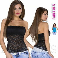 NEW Womens Strapless Padded Top Floral Lace Bandeau Tube Shirt Size 2 4 6 8 XS S