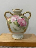 Antique Noritake Nippon Morimura Porcelain Vase Pink Flowers & Gold Beaded Dec.