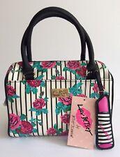 LUV BETSEY By BETSEY JOHNSON Mini Barrel Bag Floral Handbag Striped Black Purse