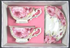 COUNTRY ROSE SET OF TWO NEW BONE CHINA 220CC TEA CUP AND SAUCER