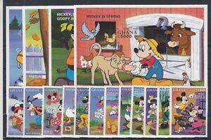 Le Walt Disney Ghana 2685-96 + Bloc 341-44 Mickey Mouse (MNH)