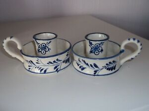 Vintage Blue & White Delft Candle Holders Hand Painted in Holland
