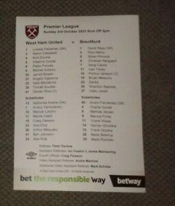 West Ham United v Brentford Team Sheet 3/10/2021 NEW