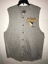 Vtg 1993 Jostens Sportswear Pittsburgh Penguins NH Sz L Shirt Tank Vest Button
