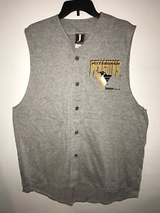 Vtg 1993 Jostens Sportswear Pittsburgh Penguins T-Shirt Tank Sleeveless Sz Large