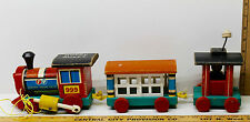 Vintage 1963 Fisher Price Huffy Puffy Train 3 Wooden Pull Toy Engine 999 Caboose