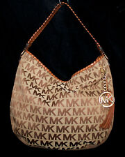 MICHAEL KORS Bennet Signature Beige Jacquard Canvas & Tan Leather Tassel Hobo