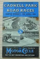 CADWELL PARK 19 Apr 1954 SOLO & SIDECAR ROAD RACES Official Programme