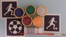 Ladies Football theme glitter tattoo set - stencils, glitter World Cup Women