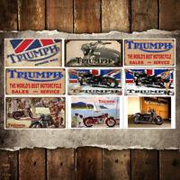 Triumph Motorcycle Home Decor Tin Sign Bar Pub Garage Decorative Metal Sign Art