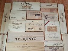 6 X ASSORTED WINE WOODEN BOX END PANELS WALL PLAQUE HOME / BAR / PUB DECORATION