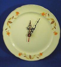 Vintage Handmade Hall's Autumn Leaf Dinner Plate Clock - No Numbers
