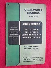 VINTAGE ORIGINAL JOHN DEERE M7  4-DISK & M8 5-DISK, DISK TILLER OPERATORS MANUAL