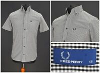 Mens Fred Perry Short Sleeve Shirt White & Black Check Cotton Size XS