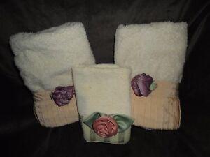 MILLENNIUM AVANTI 3-D TOWEL PURPLE & PINK FLORAL (3PC) HAND TOWELS, WASHCLOTH