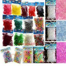 SET/LOT OF 6000 Pcs DIY LOOM RUBBER BANDS 600 pc 10 Bags Clips rainbow Colors