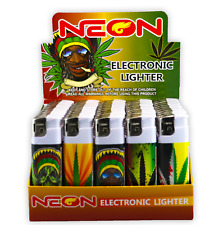 100 Rasta Full Size NEON Electronic Disposable Cigarette Lighters, All Purpose