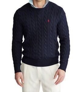 Polo Ralph Lauren Men's Navy Blue Cable Knit Cotton Sweater US size L $110