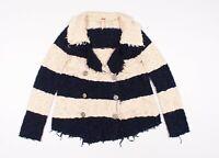 Free People Stripe Knit Fringe Sweater Jacket Size S Small