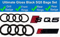 Audi SQ5 Gloss Black Badge Grille & Boot Rear Badge Emblem Set Rings glossy