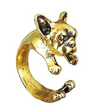 French Bulldog Terrier Dog Adjustable 3D Wrap Ring by Pashal in Vintage Gold