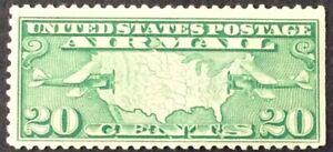 1927 20c Map & Planes Airmail Single, Scott #C9, MNH, F-VF, St. edge