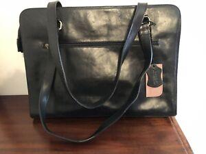 Milleni Italian Leather Large Black  Bag Laptop Work