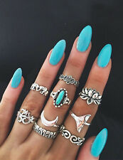 9pc Set of Boho style antique silver & turquoise rings stack elephants size K-L