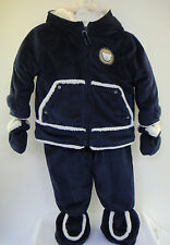 SNOW SUIT Baby Boy 6-9 Month 2 Pc Navy Cream Fleece Plush Zip Front Jacket