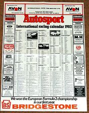 Autosport 1982 INTERNATIONAL RACING CALENDAR - F1 F2 F3 WCM Touring FF2000 Indy