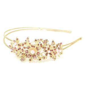 Wedding Flowers pink Rhinestones gold Metal Head Jewelry Headband Head Piece  #9