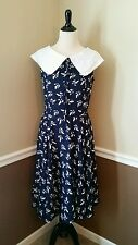 NWT Modcloth Migrate M Hell Bunny Ada Swing Dress Navy Birds Collar 50's Retro