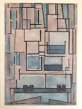 "MONDRIAN VINTAGE 1970 ABSTRACT AUTHENTIC LITHOGRAPH PRINT "" BLUE FACADE "" 1914"