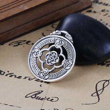5PCs Sliver Tone Carve Celtic Knot Round Alloy Pendant 3.3x2.9cm For Necklace GW