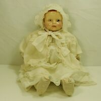 Antique Composition Doll  Acme Toy Co. Large Talker Straw Stuffed Body Compo 22""