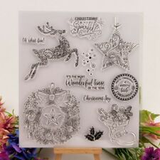Christmas Reindeer Garland Transparent Silicone Clear Rubber Stamp K6