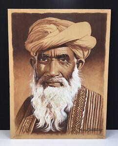 SIGNED SILK PORTRAIT ELDER MAN MIDDLE EASTERN PAKISTANI AFGHANISTAN INDIA?