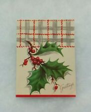 """Vintage Christmas Card - """"Greetings"""" - Holly and Berries - Red and Gray Plaid"""