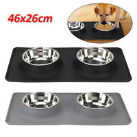 UK Pet Dog Double Feeder Bowl Stainless Steel Silicone Mat Food Water Bowl Set