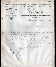 """MAGNETTE prés AUDES (03) MENUISERIE & CHARPENTE """"VENUAT"""" en 1911"""