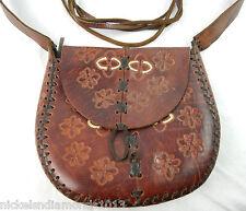 Vintage Hand Tooled Leather Shoulder Purse Bag Frayed Strap Floral Pattern Braid