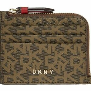 DKNY Brown Monogram Card Holder Brand New Zipped Coin Pouch Purse