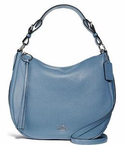 New Coach Sutton Pebble Leather Large Hobo Shoulder Bag Slate Blue 35593 NWT