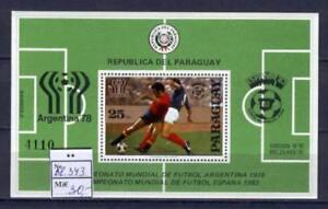 Soccer 1978 B82 MNH Paraguay Block Emblem CV 30 eur