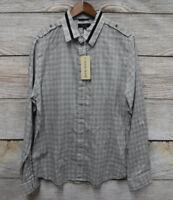 Guess Mens Size Large Black & Gray Checkered Slim Fit Button Front Shirt New
