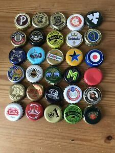 30 BEER BOTTLE CAPS TOPS - ARTS AND  CRAFTS - USED ALL DIFFERENT SOME RETRO