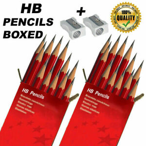 HB Pencils STRONG Boxed HIGH Quality +FREE Metal Sharpeners