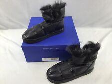 Stuart Weitzman Janica Black Leather/Fur Ankle Boots Size 8.5M  K113/